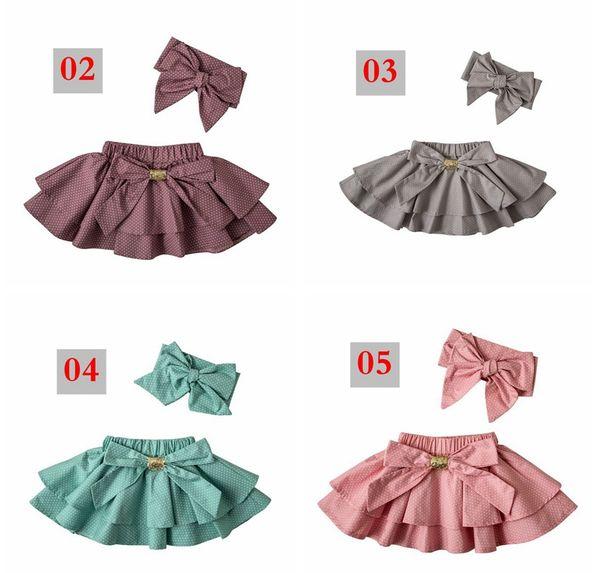 ins toddler girls polka dot skirts ruffle tutu skirt baby cotton pettiskirts hair bows headbands kids boutique clothing sets bowknot tutus