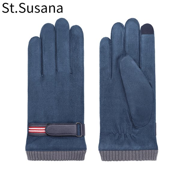 St.Susana 2018 Men Autumn WInter Gloves Fashion Warm Lining Gloves Male Touch Screen Driving riding Windproof