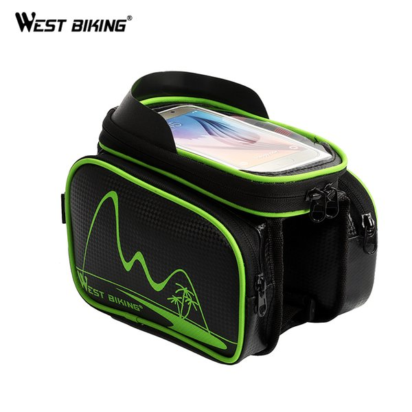 West Biking Rainproof 5.5 Inch Bicycle Bag Front Tube Removeable Touch Screen Phone Bike Bags Handlebar Cycling Frame Pouch Bags