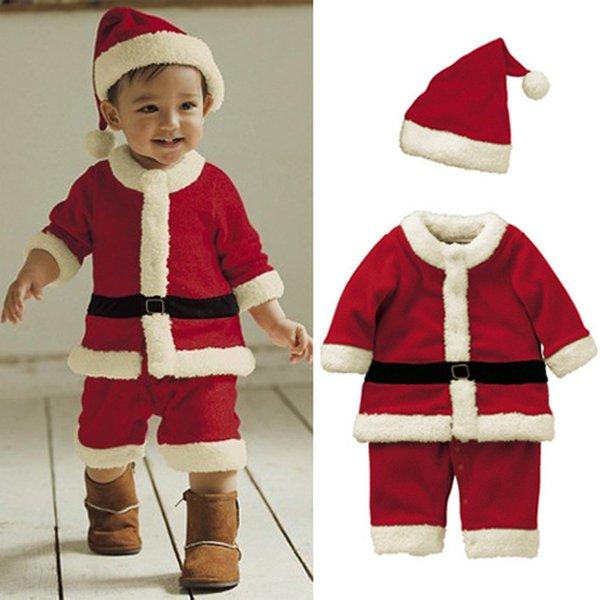 Christmas Santa Bodysuit Baby Boys Girls Jumpsuits Infant Xmas Jump Suits 2018 Winter Romper Boutique Kids Santa Claus Climbing Clothes
