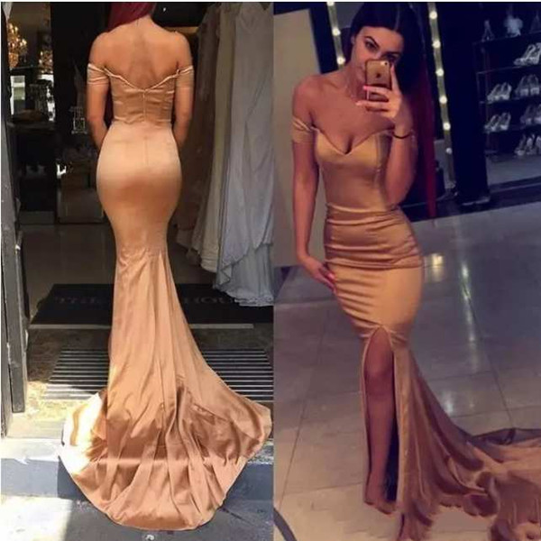 Gold Mermaid Prom Dresses Off-Shoulder Sexy Back Front Split Special Occasion Dresses Simple Design Formal Evening Gowns