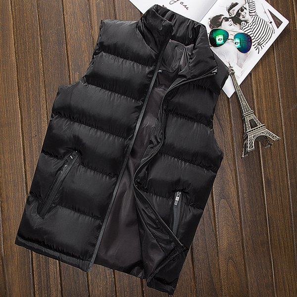 Fashion Vest Jacket Men Winter Quality Sleeveless Jackets Male Stand Collar Cotton Pad Coat Lovers Couple Waistcoats Gilet Homme