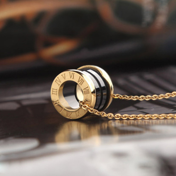top popular 2019 women luxury designer jewelry roman numeral ceramic pendant necklaces rose gold color stainless steel mens necklace gold chain gift box 2021