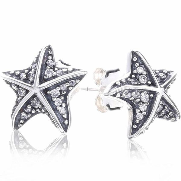2018 New Authentic 925 Sterling Silver Earring Mignon Starfish With Crystal Studs Boucles D'oreilles Pour Les Femmes Cadeau De Mariage Fine Europe Bijoux