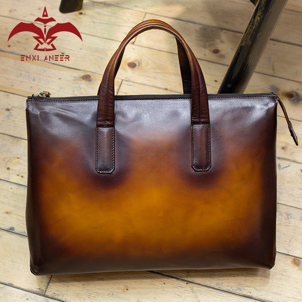 Awesome Color! 1PC 100% Patina Leather 38X7X28cm Big Tote Bag Handbag for Men & Lady Chocolate/Brown/Orange/Red/Navy Color Bag