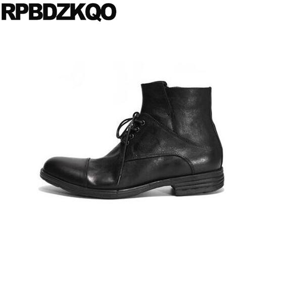 Botas cortas de cordones con cordones Caen Zapatos de cuero de grano entero italianos Negro Otoño Negocio Estilo británico Hombres Vestido Formal grueso