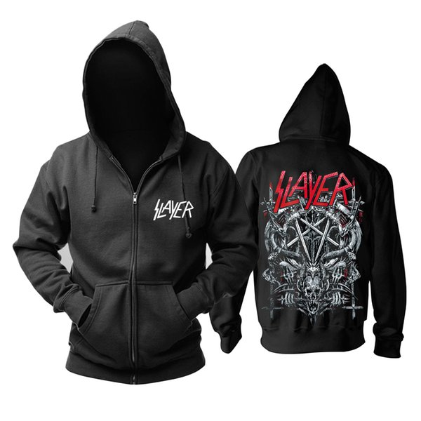 18 designs Slayer Cotton soft Rock hoodies shell jacket punk heavy metal zipper sweatshirt fleece sudadera Skull tracksuit
