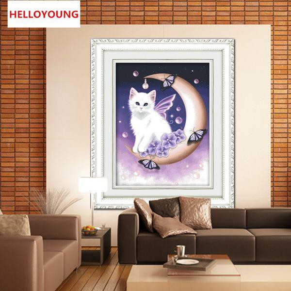 Diy 5d diamante lleno lienzo mosaico bordado de diamantes ángel gato cuadrado pintura diamante kits de punto de cruz decoración del hogar
