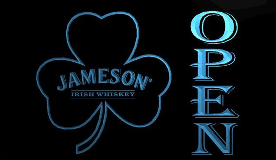 LS713-b- Jameson Whiskey Shamrock OPEN Bar 3D LED Neon Light Sign Customize on Demand 8 colors to choose