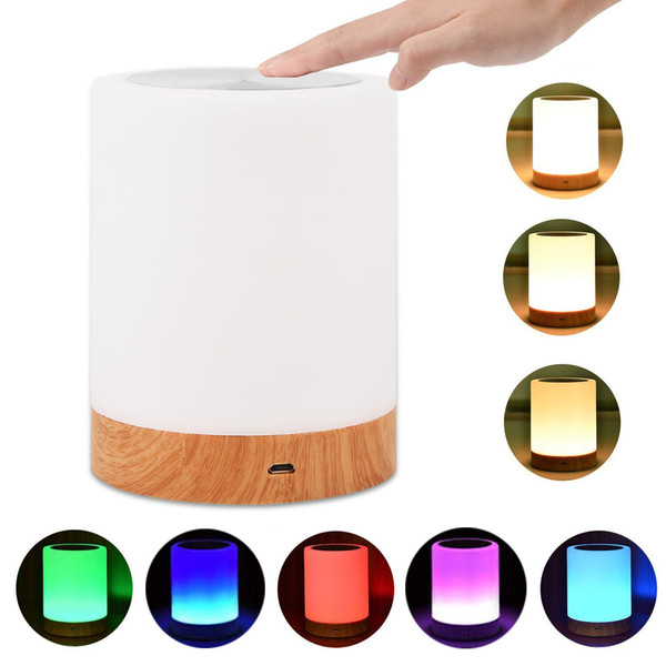 LED Bedside Table Lamps Touch Lamp Night Light Nursery Dimming Lamp Rechargeable Warm White Light RGB Color Bedrooms Living Room Portable