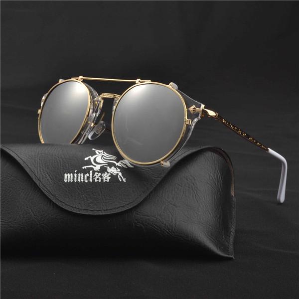 2018 Hommes Lunettes De Soleil Myopia Clip Magnétique Myopie Conduite Lunettes Clip Sur Double But conduite miroir Punk lunettes avec boîte FML