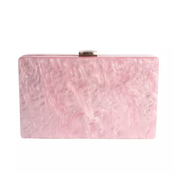 2017 New Wallet Women Messenger Bag Brand Designer Elegant Solid Marble Pearl Pink Acrylic Clutch Evening Bag Mini Shoulder Bags