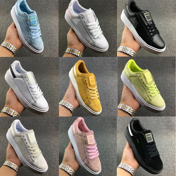 Rihanna Shoes Suede 2 Cleated Creeper Women Black Green Yellow White Fenty Creepers trainers Sneaker running shoes basket platform.