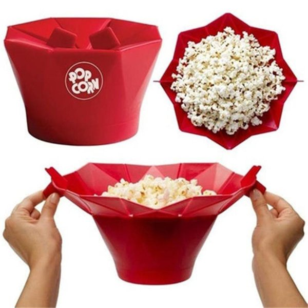 Bowl Microwave Silicone Tool Popcorn Container Bowl Geometric Shape Popcorn Bucket Western Style Bucket Directly Heated Tools