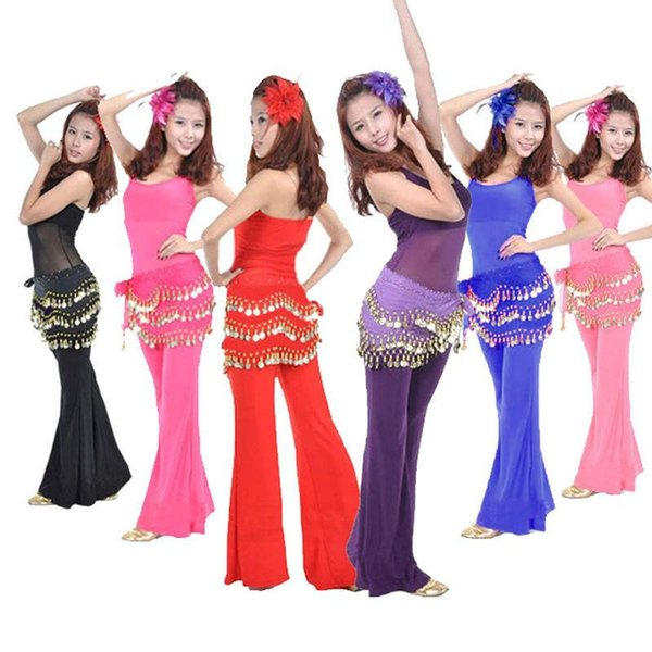 1 pc Cute Belly Dance Hip Chiffon Skirt Scarf Wrap Belt With Golden Coins in 3 Rows 11 colors dancing accessories