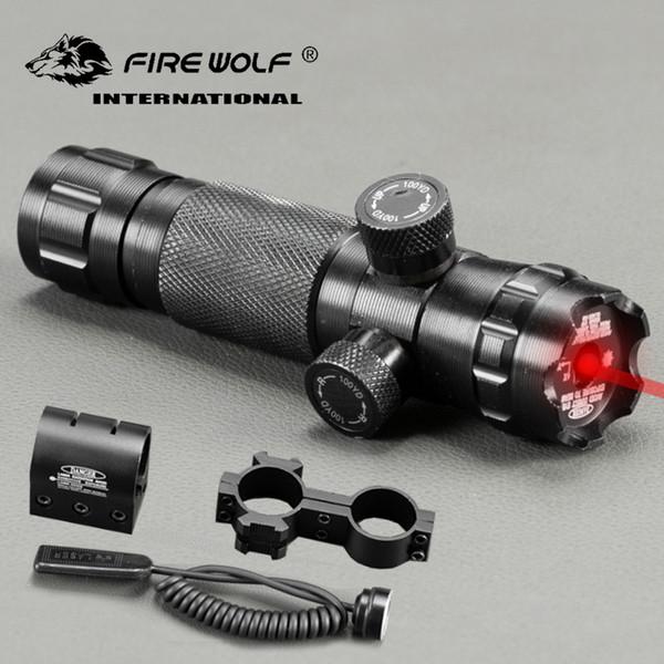FUOCO LUPO Tactical Regolare Red Dot Laser Sight Rifle Scope Con 2 Supporti Picatinny Weaver Rails Caccia Scopes Air Soft