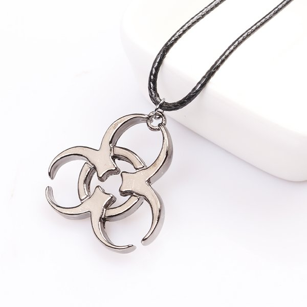 Resident Evil Biohazard Symbol Necklace Biological Hazard Pendant Leather Rope Chain Movie Biohazard Jewelry For Women And Men
