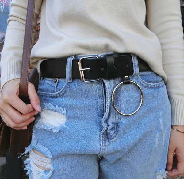 HOT oro hebilla redonda cinturones de ocio femenino jeans salvaje cinturón sin hebilla de metal pin correa de correa de cuero marrón negro mujeres