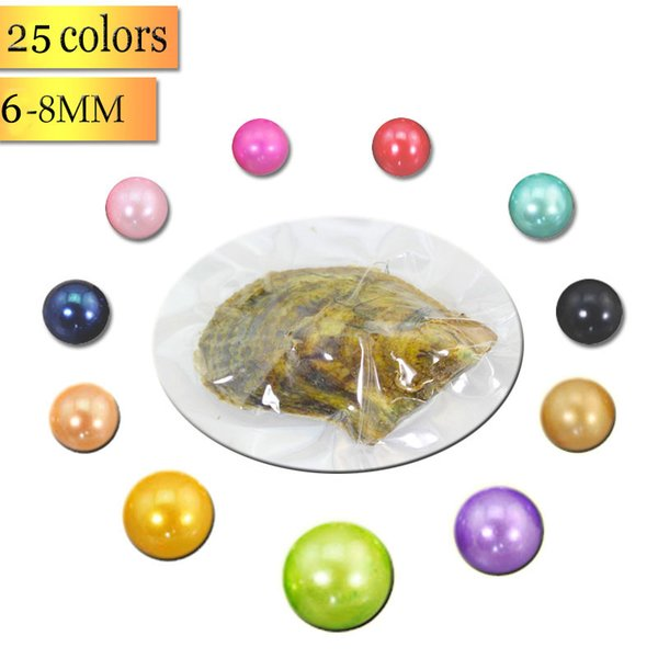 Wholesale 2018 new 6-7mm round AAA+ Akoya Oyster Pearl 25 mix color seawater Natural pearl Gift DIY Loose Decorations Vacuum Packaging