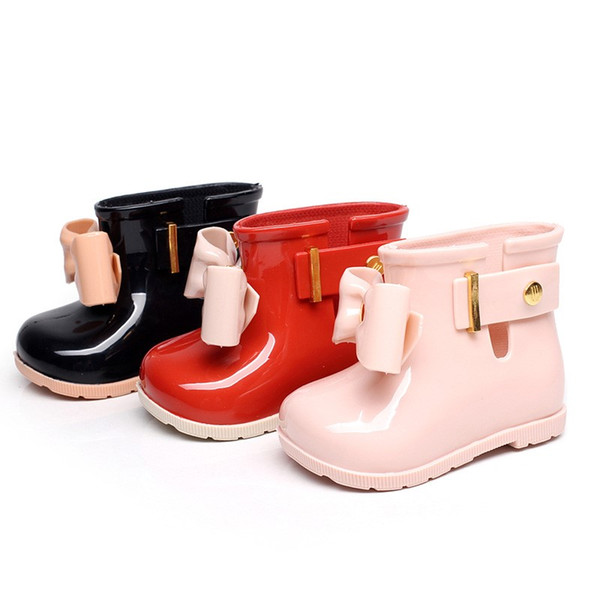 2018 Hot Athletic Outdoor Baby Kids Spring Autumn baby girls Rain Boots Warm Beauty Bow Rainboots Rubber Shoes Toddler Kids Jelly shoes