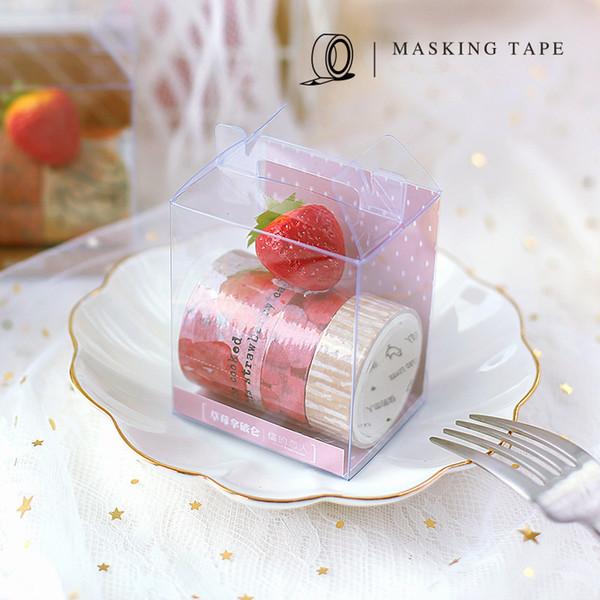 3 pcs presente bolo de papel washi tape set 15mm 30mm morango Mousse de Chocolate fitas adesivas scrapbooking papelaria A6001