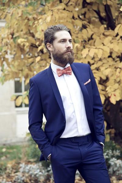 Meistverkaufte Royal Blue Mens Anzüge Groomsmen Hochzeit Smoking Zwei Stück Designer Blazer Schal Revers Formale Kleid Anzug (Jacke + Pants)