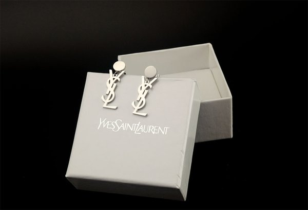 High Quality Celebrity design Women Letter Pendant Earrings Fashion Metal Gold Earring Jewelry With Box