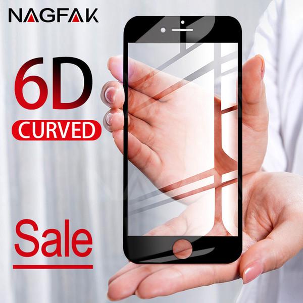 Pellicola salvaschermo integrale 6D curva per iPhone 7 6S 8 X Vetro temperato per Apple iPhone X 6 s 7 8 Plus Pellicola di vetro