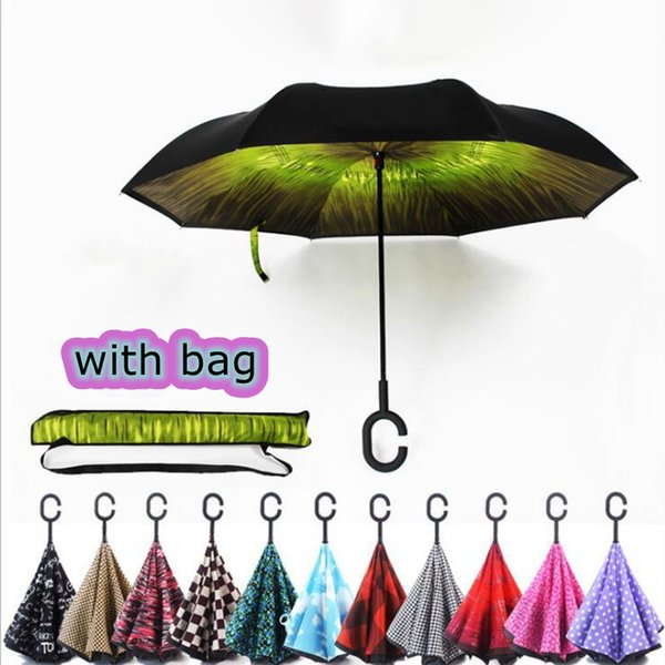 top popular Creative Inverted Umbrellas Double Layer With C Handle Inside Out Reverse Windproof Waterproof Umbrella With Bag 39 Colors 2021