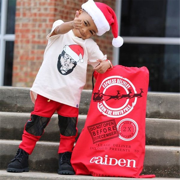 Mikrdoo 2018 Kids Toddler Baby Boys Ropa de Navidad Set Camiseta de manga corta Top Red Pant 2PCS Traje de moda