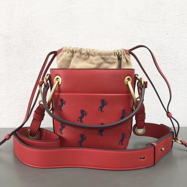 2018 Fall Fashion Women Roy Bucket real leather Embroidered pony horse bag