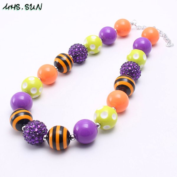 Wholesale Fashion Colors Halloween Style Girl Kid Chunky Beads Necklace Newest Bubblegum Bead Chunky Necklace Jewelry For Children