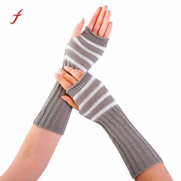 1 PC Winter Womens Mittens Fashion Wrist Arm Warmer Winter Gloves Stripe Knitted Long Fingerless Gloves For Women#11D