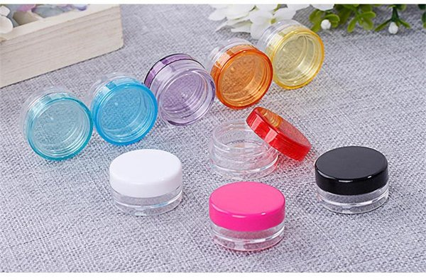 Free shipping round 3g/3ml travel cosmetic box pot, wide mouth cosmetic plastic container easy portable cream jar wholesale
