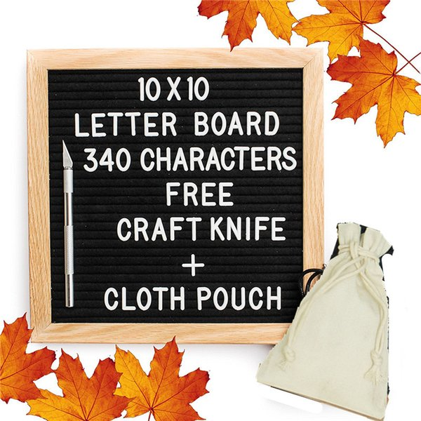 best selling Black Felt Letter Board Changeable Letter Puzzle Boards Free Craft Knife Oak Wood Frame Message Board For Xmas Business Free DHL 574