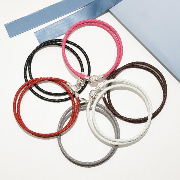 3a01023f2d5f 6 colores Doble capa Cuerda de cuero real para mujer para hombre Granos  clips Pulseras Caja