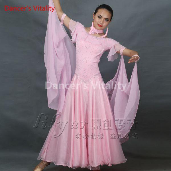 Modern Dance Dress Competition Diamond Ruffled Off Shoulder Dancewear Suits for Lady Women Ballroom National Standard Waltz Dancing