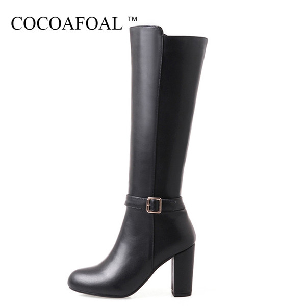 COCOAFOAL Women Autumn Winter Zipper Knee High Boots Genuine Leather Black High Heeled Shoes Fashion Round Toe Knee Boots