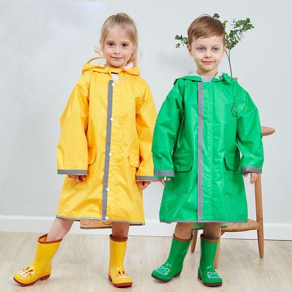 Children's raincoat boys and girls baby poncho big hat safety reflective strip