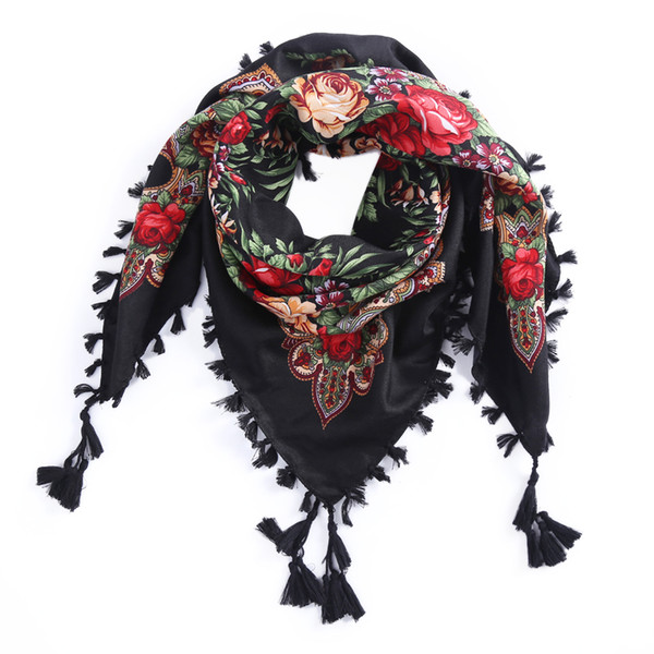 2017 New Russian Ethnic Style Square Shawl andmade Cotton Print Muslim Women Brand Scarf Tassel Headband Global Selling