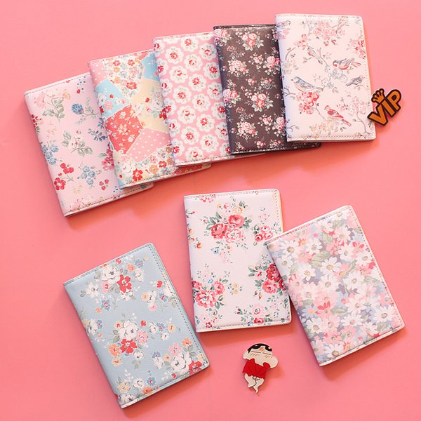 2017 Fashion Floral Print PU Leather Passport Holde,Passport Cover for Travel Card Holder Bag, 22 Style for choose,size 14*10cm