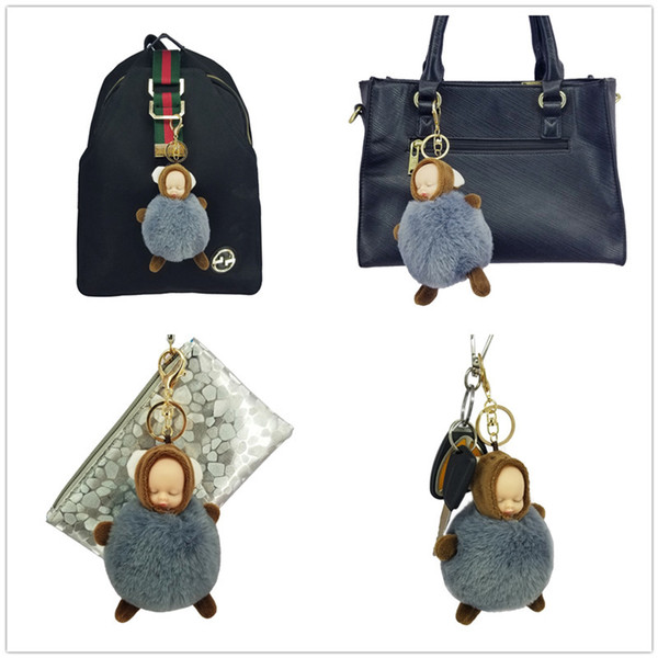 pompom key chain sleeping baby key chain cut rabbit fur ball keychain car key ring women keychian bag charm porte clef