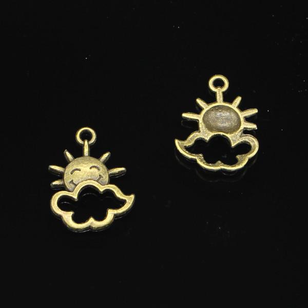 142pcs Charms in lega di zinco bronzo antico placcato sun cloud Charms per monili che fanno DIY pendenti fatti a mano 20 * 17mm