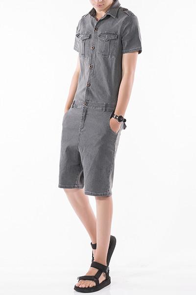 New Male Slim Fit Harem Jeans Hip-Hop Trousers Men Jumpsuit Fashion Short Sleeve Denim Overalls Short Jumpsuit Pant