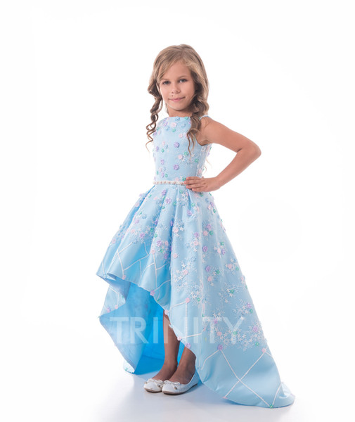 Lovely Sky Blue Satin Jewel Applique Flower Girl Dresses Girls' Pageant Dresses Holidays/Birthday Dress/Skirt Custom Size 2-14 DF710343