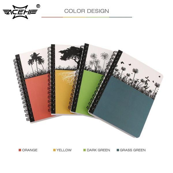 ACEHE Mini Cuaderno de tapa dura Diario de escritura Cuaderno de bobina portátil Página de inicio Diario de oficina Bloc de notas de viaje de negocios