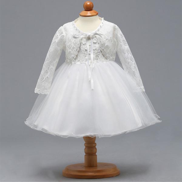 Девочка новорожденный крестины Крещение кружева платье 3-12 месяцев белый с длинным рукавом платье Делюкс вышивка платье для свадьбы День Рождения