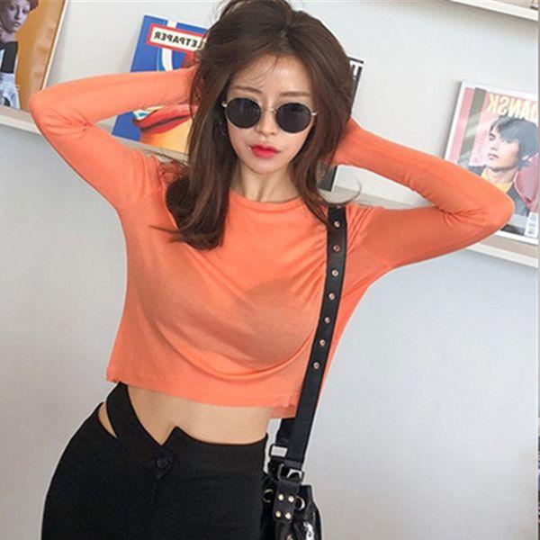 Cotton T Shirt Women Sexy t-shirts 2018 autumn winter slim tops vogue Long Sleeve Basic tshirts tee white black korean clothes