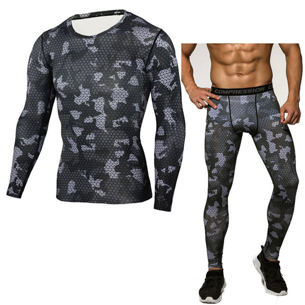 Mens Compression Shirt Pants Set Bodybuilding Tight Men Running Clothing Long Sleeves Shirts Leggings Camouflage Fitness Sports