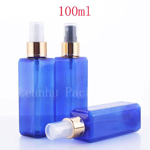 100 ml X 50 vide bouteilles de pompe de pulvérisation bleues carrées pour l'emballage de soins personnels, 100cc parfum de luxe bouteilles botellas en plastique de 3,4 oz